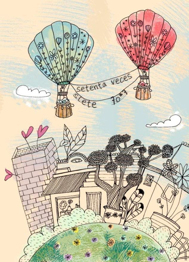 Ilustración de globos inspirada en dibujos de paula Mills.