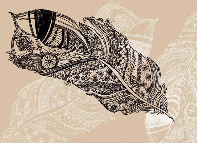 Ilustración Pluma inspirada en  Paula Mills.