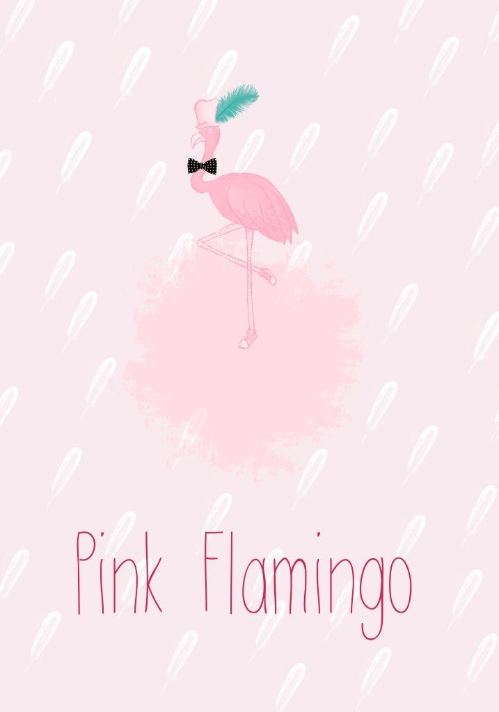 cartel ilustrado de pink flamingo