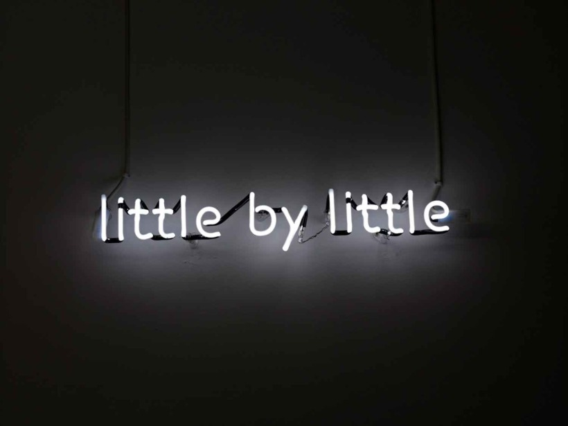 little by little neon words